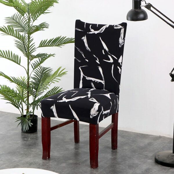 Black &Amp; White Stretchable Chair Cover For Dining Chairs 27 Chair And Sofa Covers