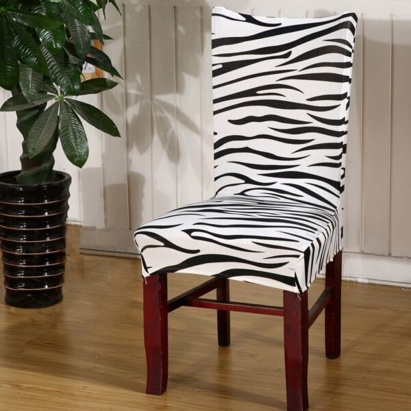 Black &Amp; White Stretchable Chair Cover For Dining Chairs 24 Chair And Sofa Covers