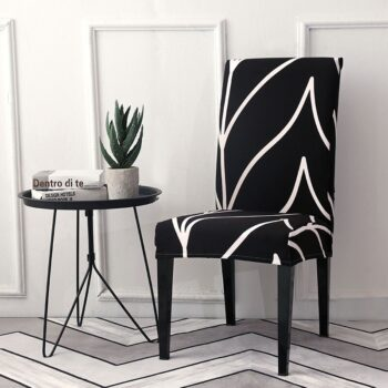 Black &Amp; White Stretchable Chair Cover For Dining Chairs 8 Chair And Sofa Covers