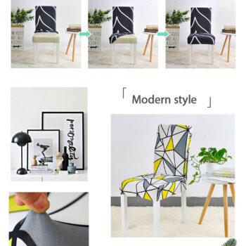 Geometric Print Stretchable Chair Cover For Dining Chairs 10 Chair And Sofa Covers