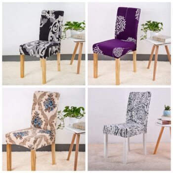 Geometric Print Stretchable Chair Cover For Dining Chairs 16 Chair And Sofa Covers