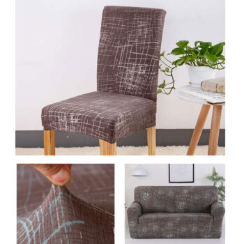 Geometric Print Stretchable Chair Cover For Dining Chairs 12 Chair And Sofa Covers