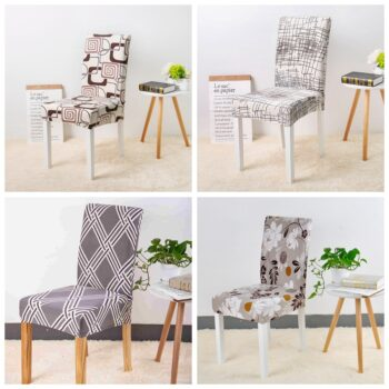 Geometric Print Stretchable Chair Cover For Dining Chairs 15 Chair And Sofa Covers