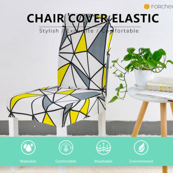 Geometric Print Stretchable Chair Cover For Dining Chairs 7 Chair And Sofa Covers