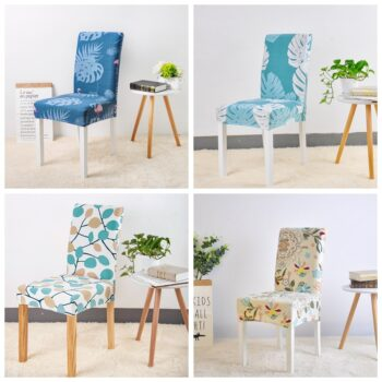 Geometric Print Stretchable Chair Cover For Dining Chairs 14 Chair And Sofa Covers