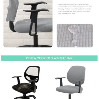 Water Resistant Jacquard Computer Chair Slipcover - Stretchable Computer Chair Cover 9 Chair And Sofa Covers