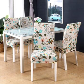 White Printed Dining Chair Covers 19 Chair And Sofa Covers