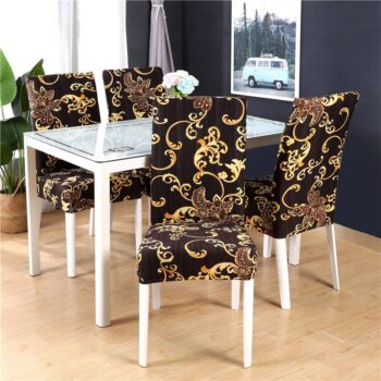 White Printed Dining Chair Covers 18 Chair And Sofa Covers