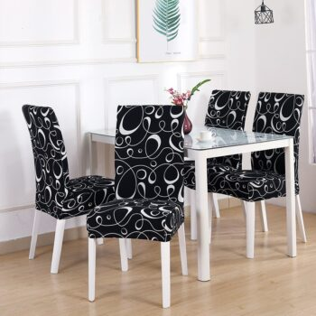 White Printed Dining Chair Covers 13 Chair And Sofa Covers