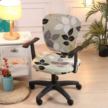 Printed Computer Chair Cover Spandex Office 2 Pieces 13 Chair And Sofa Covers
