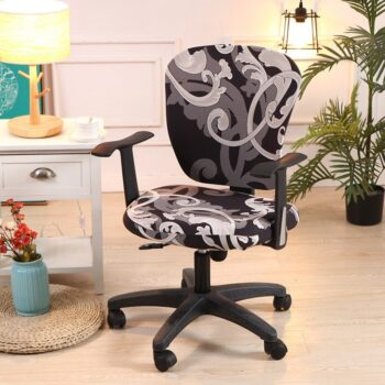 Printed Computer Chair Cover Spandex Office 2 Pieces 15 Chair And Sofa Covers