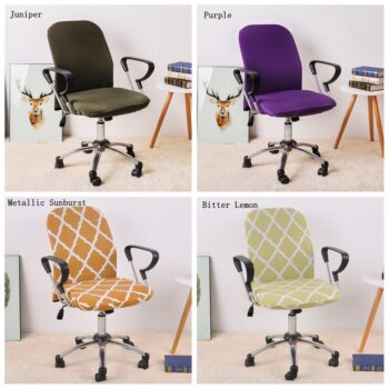 Printed Computer Chair Cover Spandex Office 2 Pieces 21 Chair And Sofa Covers