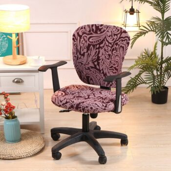 Printed Computer Chair Cover Spandex Office 2 Pieces 11 Chair And Sofa Covers