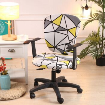 Printed Computer Chair Cover Spandex Office 2 Pieces 17 Chair And Sofa Covers