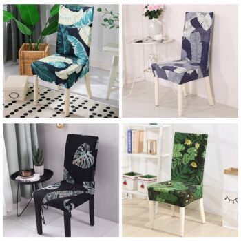 Leaves Print Blue Turquoise Spandex Chair Covers 9 Chair And Sofa Covers