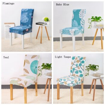 Leaves Print Blue Turquoise Spandex Chair Covers 5 Chair And Sofa Covers