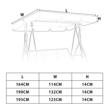 Waterproof Patio Swing Canopy Cover Replacement For 3-Seater Garden Swing 7 Chair And Sofa Covers