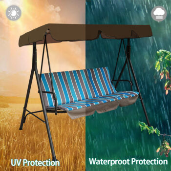 Waterproof Patio Swing Canopy Cover Replacement For 3-Seater Garden Swing 10 Chair And Sofa Covers