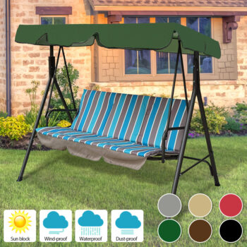 Waterproof Patio Swing Canopy Cover Replacement For 3-Seater Garden Swing 8 Chair And Sofa Covers
